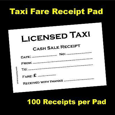 1 x 100 sheet Licensed Taxi / Minicab Receipt Pad
