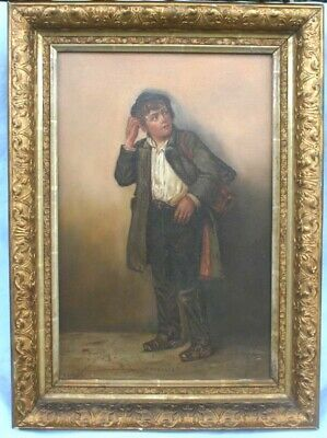 """G.G. Byeus Sign Fine O/B Painting Of The Boy """"Puzzled""""   Magnificent"""