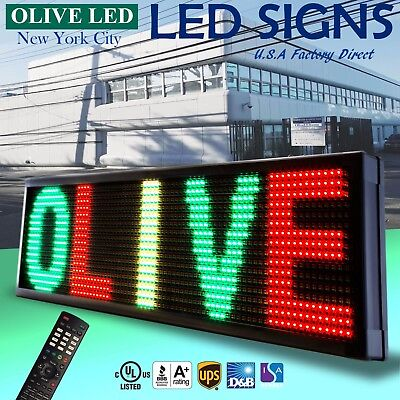 "LED Sign Programmable Scrolling Message Board 15"" x 40"" RGY 3color P20"