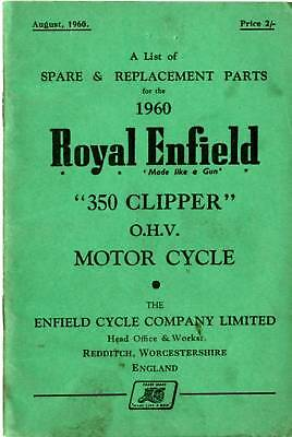 Royal Enfield 350 Clipper Illustrated Parts Book 1960