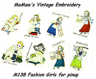 M218 Pinup Girls tea towels DOW Embroidery HOT IRON ON Transfer pattern