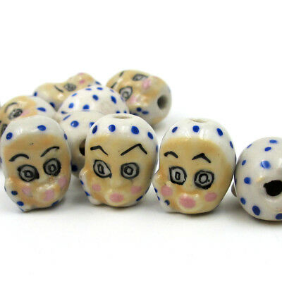 11Pcs Hand Painted Ceramics Porcelain Child Beads Finding