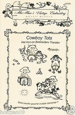 Cowboy Tots Tea Towel DOW Embroidery HOT IRON Transfer pattern