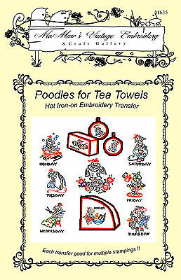 M119 Kitchen Poodles towels DOW Embroidery HOT IRON Transfer pattern