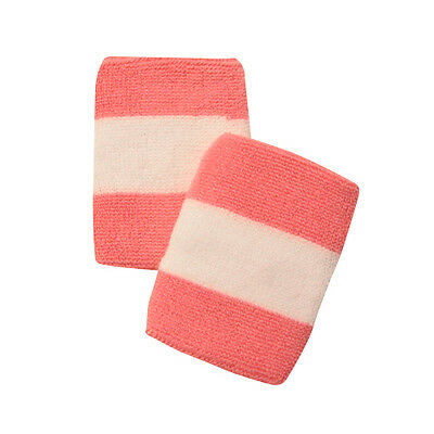 Pink And White Sports Quality Sweat Band Wristbands