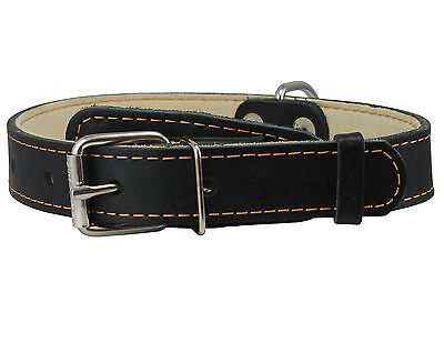 "Genuine Leather Dog Collar 1"" wide 15""-20"" neck for Medium/Large Dogs"