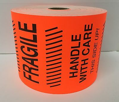 250 4x6 Red Flo Fragile Handle with care Shipping Labels