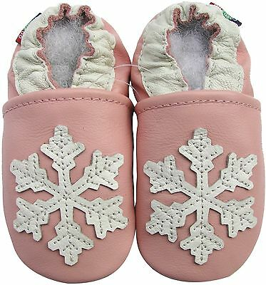 soft soled leather baby shoes snowflake pink 6-12m