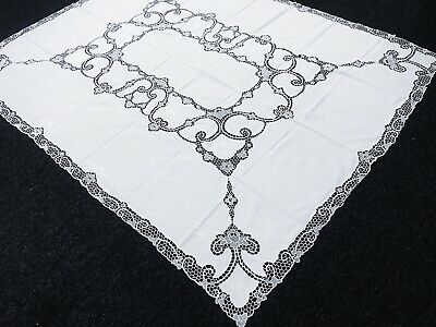 """White 72x90"""" Cotton Linen Handmade Embroidered Lace Rectangle Tablecloth Napkins"""