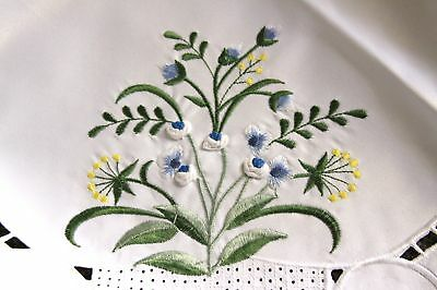 """Embroidery Handmade Blue Rosebud Yellow Flower Embroidered 36"""" Tablecloth"""