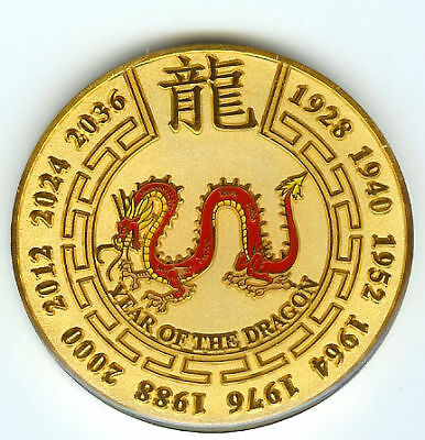 Gold Year of the Dragon Chinese Zodiac Poker Guard Card