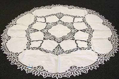 "Battenburg 100% Cotton Handmade Lace Embroidery tablecloth 72""RD - White Color"