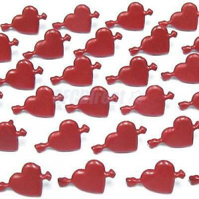 Lot of Brads Holiday DIY Fun Lovely Heart Red 30 Piece