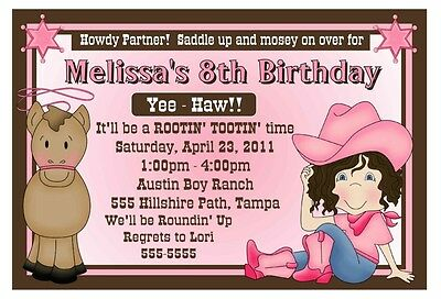 Western Cowgirl Birthday Party Invitations
