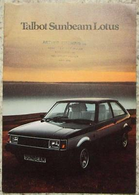 TALBOT SUNBEAM LOTUS Car Sales Brochure 1979 #C9579