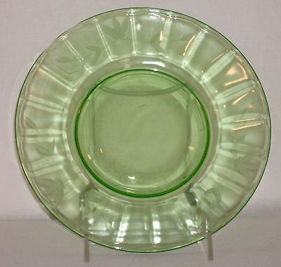 Green Depression Glass Salad Plate - Etched Leaf