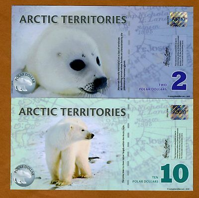 Arctic Territories, SET, $2 and $10, 2010, Polymer UNC