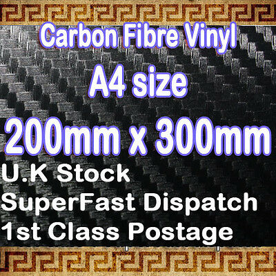 【3D CARBON FIBER】TEXTURED Vinyl Sheet Sticker Film Sheet A4 0.2m(7.9in)x 0.3m