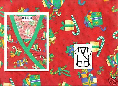NEW Scrubs~ Christmas Print Scrub Top With Trim ~ M ~ Holiday Treats Red ~ # 514