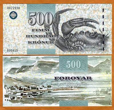 Faeroe Islands, 500 Kronur, (ND) 2004, P-27, UNC > crab