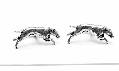 Greyhound Dog Cufflinks, Fine English Pewter, racing