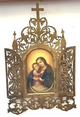 French 18C Porcelin Plaque Of Modanna Gothic Bronze Frame   MAGNIFICENT