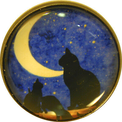 """1"""" Crystal Low Dome Button of Cats and Crescent moon FREE US SHIPPING"""