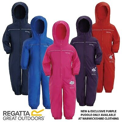 Regatta Child's Puddle Suit Kids Breathable Wind Waterproof All In One Rainsuit