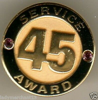"""45 SERVICE AWARD"" Gold Lapel Pins in Pouch/20/NIB"