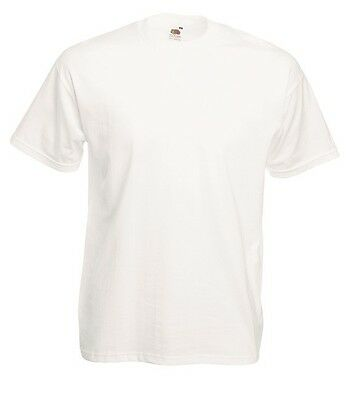 12 Fruit Of The Loom Valueweight Plain WHITE Cotton Mens Tshirts T-Shirts