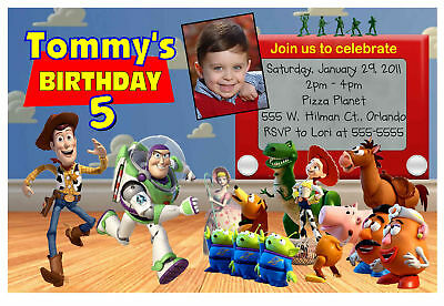 TOY STORY BIRTHDAY PARTY INVITATIONS with photo