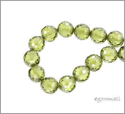 8 Cubic Zirconia Faceted Round Beads 6mm Olive Green #64698