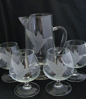 Perry Coyle Art Glass Etched Crystal Pitcher & 4 Glasses Geese Set Signed