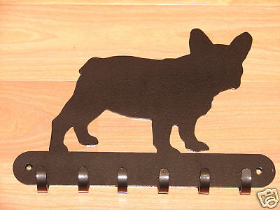 French Bulldog LEASH RACK Hat Key Hook Wall K9 Dog Pet
