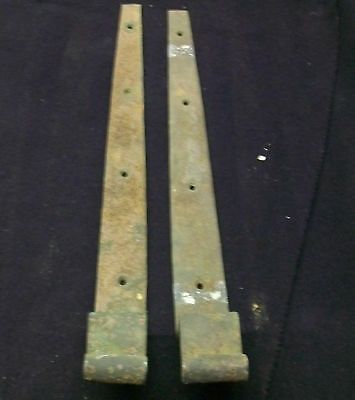 Pair Barn Door Strap Hinges Antique Offset Hand Forged   1692