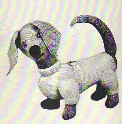Unusual Vintage Knitting Pattern For Toy Dachshund