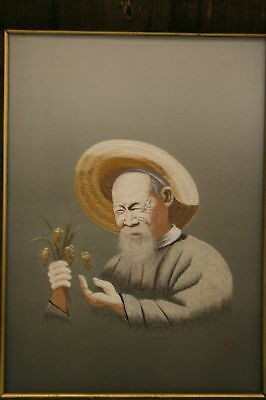 JAPANESE SILK EMBROIDERY OLD MAN SIGNED EARLY-MID 20c