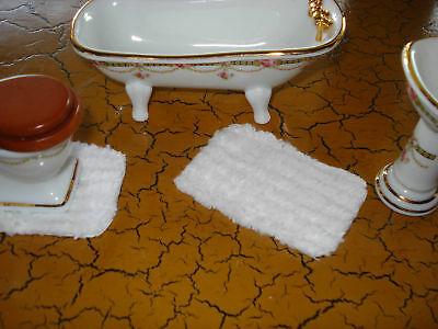 Lot of 2 Dollhouse Bathroom Rugs -Furry White Chenille
