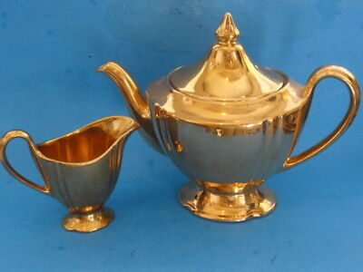 Royal Winton Grimwades Gold Fired Teapot & Creamer