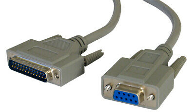 Serial RS232 Modem Cable - DB9F to DB25M 2m