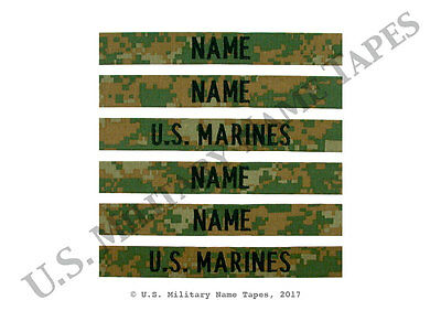 2 U.S. Marine Corps Woodland Name & Service Tape Sets