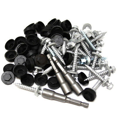 500, 45mm CORRUGATED ROOFING SCREWS, CAPS & 3 HEX BITS - FIX METAL TO TIMBER *