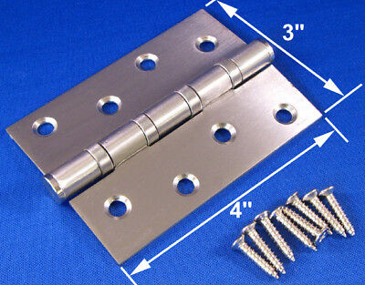 """40 New Ball Bearing Stainless Hinges 4""""X3""""X.1"""" W/Screws"""