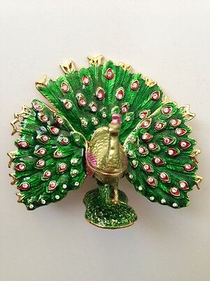 Bejeweled Peacock Statue Figurine Trinket Jewelry Box