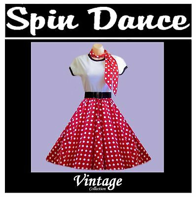 50s Vintage Style Red with White Polka Dots Swing Dance Rock n Roll Skirt+ Scarf
