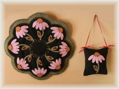 Penny Rug/Candle Mat *PATTERN*~*Summertime*~Coneflowers & Ladybugs PATTERN