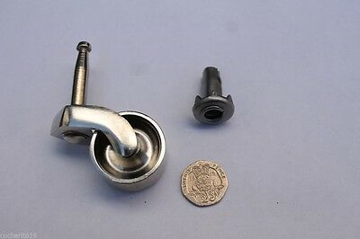 CHROME Castors peg type fitting 30mm diameter Victorian style NOW CHEAPER