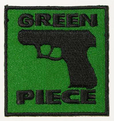 GREEN PIECE - Novelty Firearms Patch... Peace...