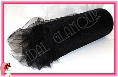 BLACK Soft Wedding Tulle Roll 15cm x 23m - Bridal Material Chair Sash Pew Bow