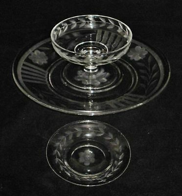 Heisey Crystal Saucer, Plate&Bowl Etched Flowers Laurel